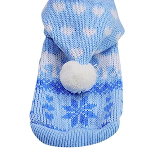 Mikey Store Knit Dog Hoodie Sweater Puppy Coat Clothes Small Warm Costume (Blue, XL)