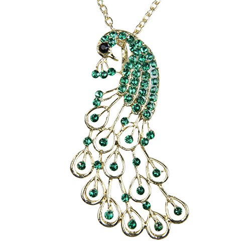 Collar con colgante de pavo real con diamantes de imitación verdes vintage