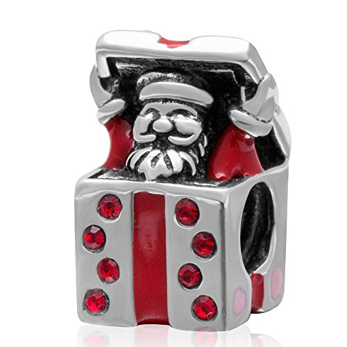 Christmas Father Send Gift Box Charm 925 Sterling Silver Red Enamel Santa Claus Charm with Red Australian Crystals for European Bracelet