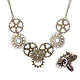 Juland Steampunk Gears Pendant Statement Necklace Vintage Bronze & Silver Watch Clock Clockwork Hand Gear Cog Handmade Kinetic Winged Gear Necklace and Ring Set – Style 1