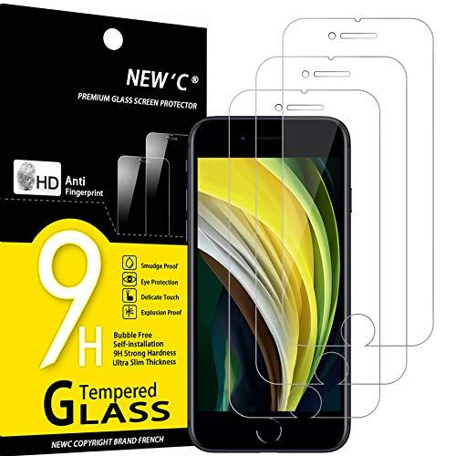 NEW'C 3 Unidades, Protector de Pantalla para iPhone SE 2020, Antiarañazos, Antihuellas, Sin Burbujas, Dureza 9H, 0.33 mm Ultra Transparente, Vidrio Templado Ultra Resistente