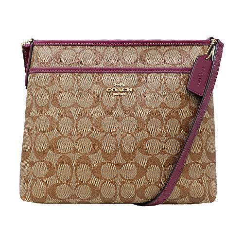 Coach Signature Zip File Crossbody - Khaki Dark Berry