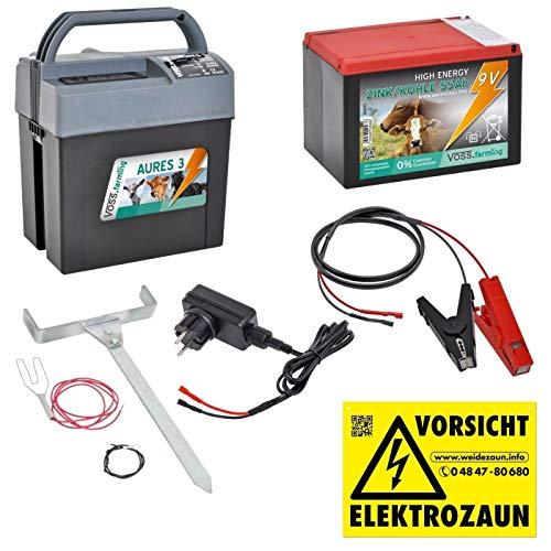 VOSS.farming Set Weidezaungerät (9V, 12V, 230V) AURES3 inkl. 9V Weidezaunbatterie und Zubehör, für Elektrozaun, Weidezaun, Weide, Paddock, Batteriegerät, Pferd Pony Rind Ziege Geflügel