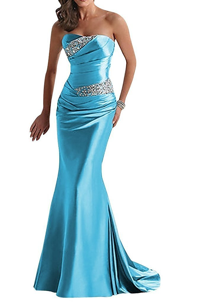 Available at Amazon: APXPF Women's Long Beaded Mermaid Evening Bridesmaid Dress Formal Prom Gown