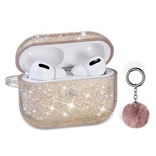 Airpods Pro Case, DMMG Airpods Case Cover Silicone Skin, AirPods Protective Cute Bling Glitter Case with Fluff Ball Keychain, Scratch Proof and Drop Proof for Apple Airpods Pro (Gold)