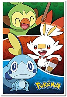 Pokemon Galar Starters Poster Cork Pin Memo Board White Framed - 96.5 x 66 cms (Approx 38 x 26 inches)