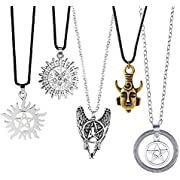 Fomei Top Quality 5 Pack Different Supernatural Dean Winchester Mask Pendant Necklace Two-sided Pendant Shipping by FBA