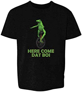 Here Come Dat Boi Meme Frog Funny Unicycle Youth Kids Girl Boy T-Shirt