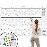 """Large Dry Erase Wall Calendar - 48"""" x 74"""" - Undated Blank 2021 Reusable Yearly Calendar - Giant Whiteboard Year Poster - Laminated Office Jumbo 12 Month Calendar"""