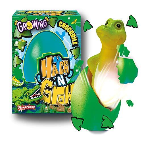 Hatch 'N' Grow Huevo Sorpresa - Cocodrilo de Deluxebase. Huevo Grande para incubar de 11 cm con un cocodrilo. Al colocarlo en el Agua aparecerá un Juguete mágico, es Ideal para niños y niñas