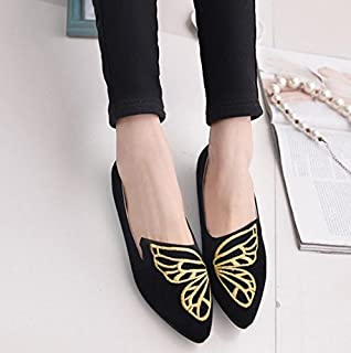 Hudue Girls'Butterfly Shoes Artificial Leather Slip On Low Cut Pointed Toe Scoop Shoes(Black)