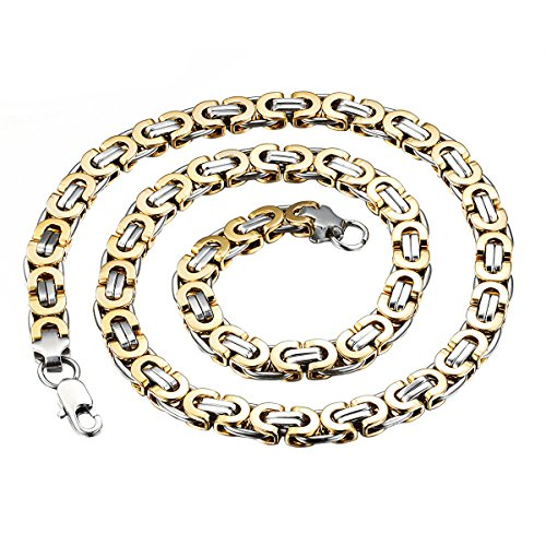 OIDEA Königskette Herren Halskette Vintage Ketten Gold Edelstahl Geschenk