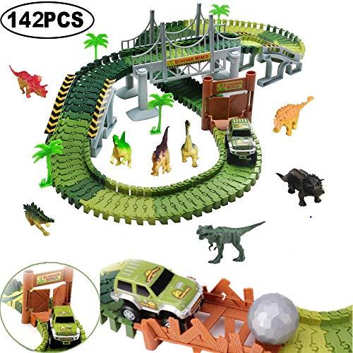 Flybiz Pista Coches Juguetes 142pcs Flexible Circuito Carrera Coches Incluyen 8 Dinosaurios 1 Vehículo Militar 4 Árboles 2 Pendientes 1 Bola 1 Puerta Doble y 1 Puente Colgante Infantil 3 4 5 AñOs