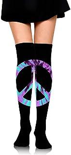 Tie Dye Peace Sign-2 Calcetines altos de muslo de ganchillo para niñas Medias altas hasta la rodilla