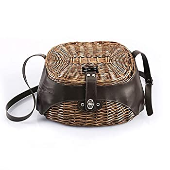 Fauge Wicker Basket Fishing Willow Creel Trout Perch Cage Tackle Fisherman Box Outdoor Classical Willow Fishing Creel Basket