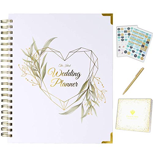 Wedding Planner Book and Organizer for The Bride Gold & Floral - Engagement Gift with Accessories - Undated Binder with Hard Cover, Pockets & Online Support