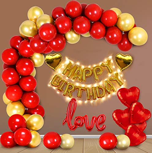 Party Propz Birthday Decoration Items Kit For Husband, Wife - 64Pcs Set Golden And Red With Foil,Love, Heart Balloon, Metallic,Led...