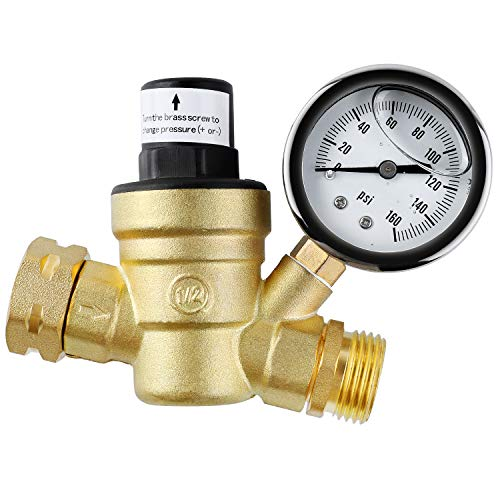 femor Brass Water Pressure Regulator, Lead Free Valve, Adjustable Water Pressure Reducer Valve for RV, Screened Filter.