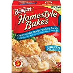This pack contains one 30.9 Ounce box of Banquet Homestyle Bakes Country Chicken With everything you need to make a hot meal worth remembering, Homestyle Bakes will get your family running to the dinner table Satisfy your hungry family with this comp...
