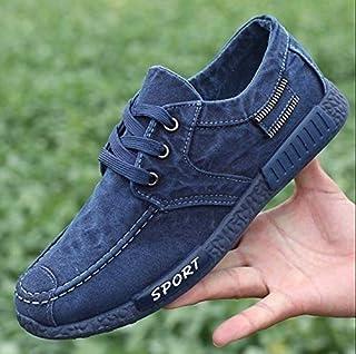 Newest Fresh Denim Canvas Comfortable Shoes Men 's Casual Sports Shoes Low to Help Cloth Shoes Korean Lace Shoes Men' S Shoes(8,Black)