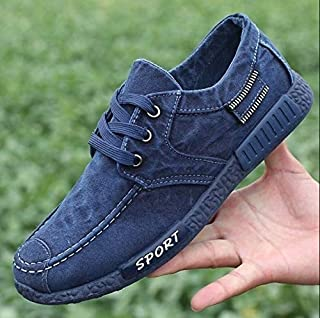 Newest Fresh Denim Canvas Comfortable Shoes Men 's Casual Sports Shoes Low to Help Cloth Shoes Korean Lace Shoes Men' S Shoes(41,Blue)