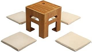 SMAGREHO Tatami Tea Table Bamboo Stool Coffee Table with 4 Cushions for Bay Window, Balcony and Living Room