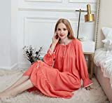 HUANSUN Spring Long Sleeve Cotton Nightdress Nightgown for Women Elegant Cute Princess Style Sleepwear Sleepdress Home Wear Nightgowns,Pink,XL