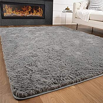 Gorilla Grip Premium Fluffy Area Rug 4x6 Feet Super Soft High Pile Shag Carpet Washable Indoor Modern Rugs for Floor Luxury Home Decor Accent Carpets for Nursery Bedroom Living Room Gray