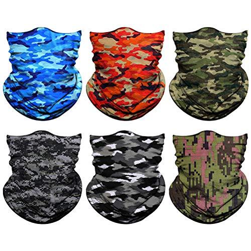 Neck Gaiter, Magic Headband Sport Headwear Elastic Face Mask Bandana Scarf UV Resistence Balaclava, Headwrap Helmet Liner for Men and Women - Cycling, Fishing, Running, Hiking, Camping, 6 Pieces