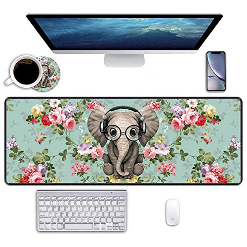 BWOOLL Desk Pad Mat Gaming Mouse Pads with Coasters, 31.5' ×11.8' Large XXL Non-Slip Rubber Base Mousepad with Stitched Edges for Work & Gaming, Office & Home (Vintage Floral Flowers Cute Elephant)