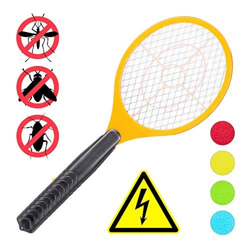 Relaxdays, orange elektrische Fliegenklatsche, ohne chemische Stoffe, gegen Fliegen, Mücken & Moskitos, Fly Swatter, HxBxT: 47x17,5x3cm