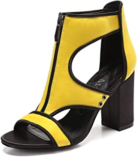 MACKIN J 197-2 Women's Open Toe Comfortable Chunky Heel Caged Ankle Strap Neon Color Walking High Heeled Dress Sandals with Zipper