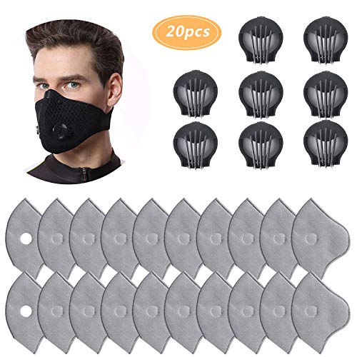 Cycling Mask Filter, Unisex Anti Pollen Allergens 20 Activated Carbon for PM2.5 Filters with 8 Exhaust Valves Replacement Dust for Mesh or Neoprene Mask