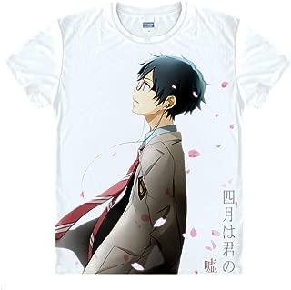 YOYOSHome Anime Shigatsu Wa Kimi No USO T-Shirt Your Lie in April Short Sleeve Tops Tee Sweatshirt Cosplay Costume