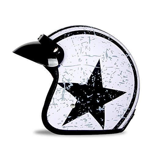Woljay 3/4 Offener Sturzhelm, Halbhelme Motorrad Helm Flat mit Rebellen Star Graphic Schwarz Weiß (M)