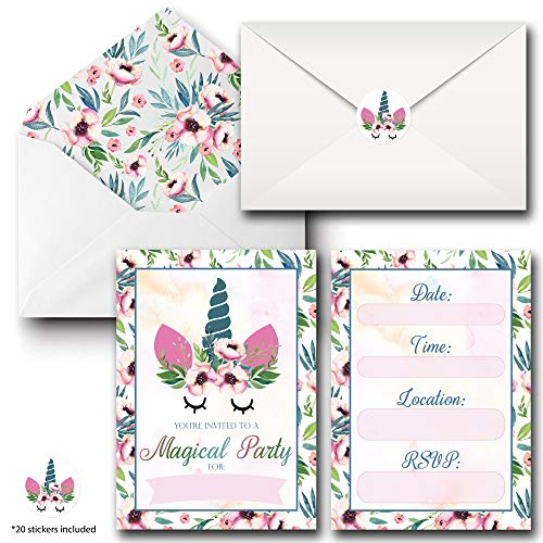 Unicorn Birthday Party Invitation Cards with Matching Envelopes and Stickers - 20 sets of 5 x 7 Inch Card Packs