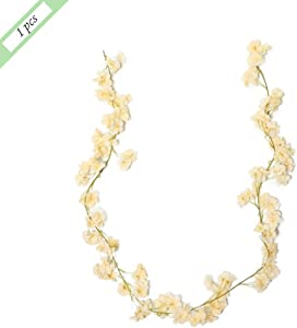 5.9 inches each Artificial Cherry Blossom Silk Flower Garlands Fake Flower Plant Flower Vine for Wedding Home Festival Party Yard Fence Decoration -10.19 (Color : Champagne, Size : 1 PCS)