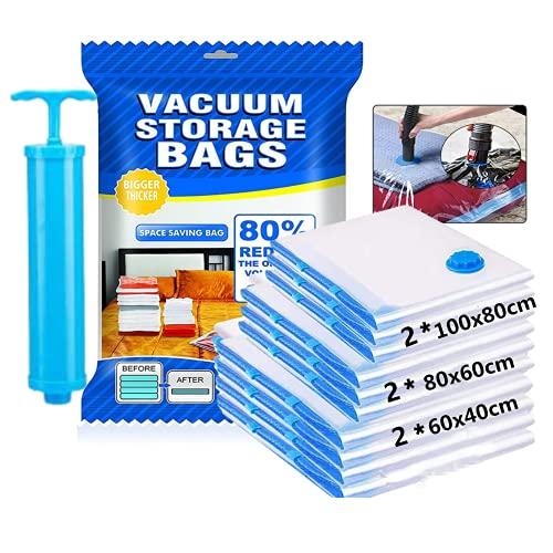 Tobtbest - 6 bolsas de almacenamiento al vacío para viajes, 2 grandes de 100 x 80 cm + 2 medianas de 80 x 60 cm + 2 pequeñas de 60 x 40 cm, reutilizables