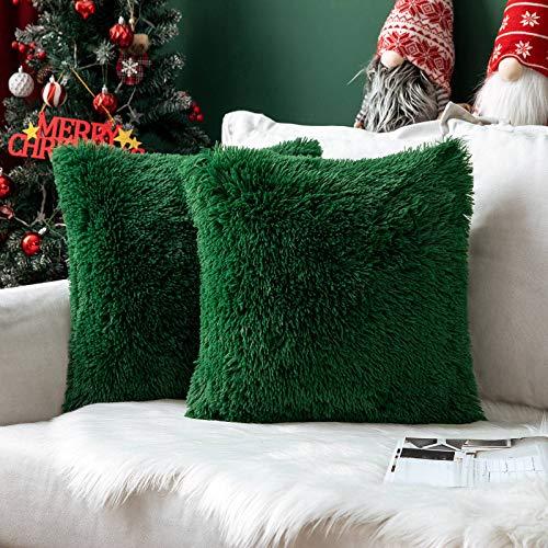 MIULEE Navidad Juego de 2 Cojines Protectores Faux Fur Throw Funda de cojín Deluxe Home Decorativo Cuadrados y...