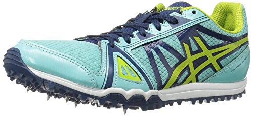 ASICS Women's Hyper-Rocketgirl XC Cross-Country Running Shoe, Aruba Blue/Neon Lime/Poseidon, 5.5 M US
