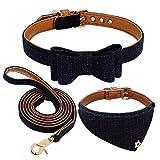 Yisatann Set de Correa y Collar para Perro Juego de Correa de Cuero para Collar de Perro Juego de Collar y Correa de Mascota Adjustabe Dog Collars-M