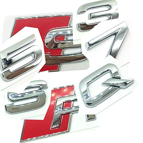 OEM ABS Nameplate for Audi R S Q 3 5 7 SQ SQ3 SQ5 SQ7 RSQ3 RSQ5 RSQ7 Silver Chrome Silver Emblem 3D Trunk Logo Badge Compact (SQ7)