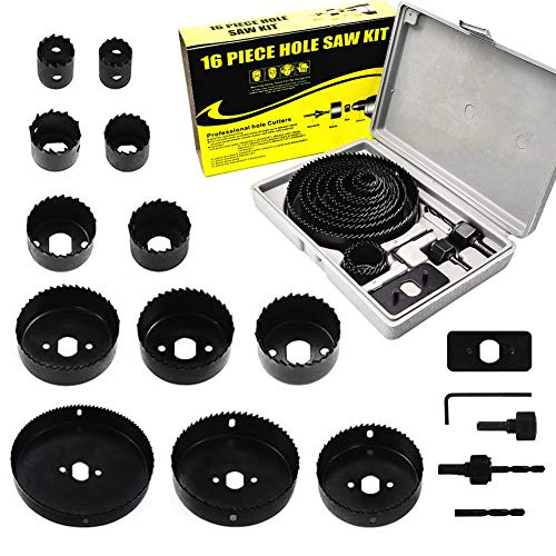 Hole Saw Set 18 Pcs, Carbon Steel Holesaw Drill Bits Kit Circle Cutter Set in Box with Mandrels/Hex Key Wrench/Install Plate, 19mm-127mm Hole Saw Sets for Soft Wood/PVC Board/Plastic Plate Cutting