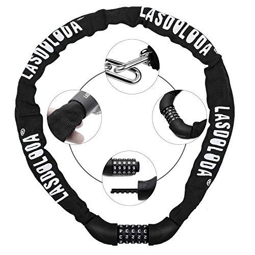 Lasdoloda Fiets Lock & Combinatie Lock voor Fiets, Fietsen Accessoires Fiets Lock 5 Digit Beveiliging Combinatie Ketting Sloten, Sleutelhangers voor Fietsen, Motorfiets Sloten Veilige Onderdelen