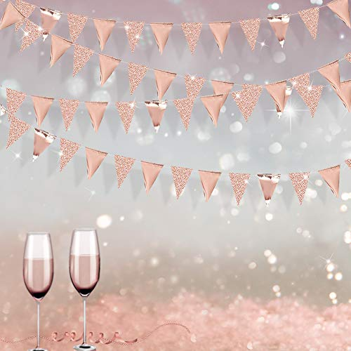 30 Feet Double Sided Glitter Paper Triangle Flag Bunting Pennant Banner for Birthday Holiday Wedding Anniversary Bridal Shower Hen Party Theme Party Supplies Decorations(Glitter+Metallic Rose Gold)