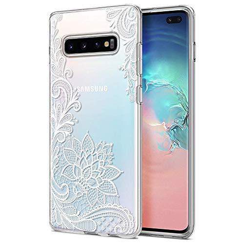 ZhuoFan Funda Samsung Galaxy S10 Plus, Cárcasa Silicona Transparente con Dibujos Diseño Suave Gel TPU Antigolpes de Protector Piel Case Fundas para Movil Samsung S10Plus 6,3 Pulgadas, Flor Blanca