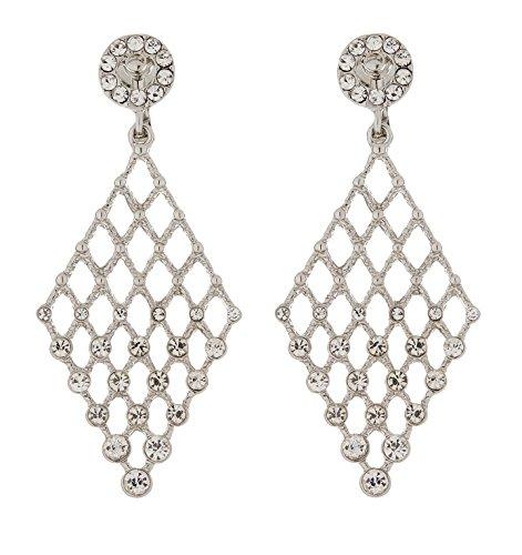 Ohrclips - Versilbert Kronleuchter Ohrring mit klaren Kristallen - Annie S von Bello London