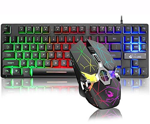 LexonElec 87 teclas con cable Gaming Mouse Combo Mechanical Feeling Rainbow LED con retroiluminación para PC Teclado para juegos Wireless Gaming Mouse 6 botones 2400 DPI 7 con retroiluminación LED