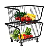 DnKelar cestas de frutas con ruedas, cesta de alambre de metal apilable, cesta de frutas, contenedor de almacenamiento, organizador de cocina, cesta apilable extraíble (2)