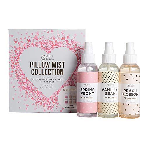 Marina & Demme Pillow Mist Set- Fragrance Sprays in Vanilla Bean, Spring Peony, and Peach Blossom, Aromatherapy Linen Sprays